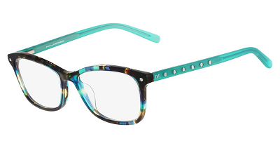 2019 eyeglass frames in aqua and tortoiseshell with jewels