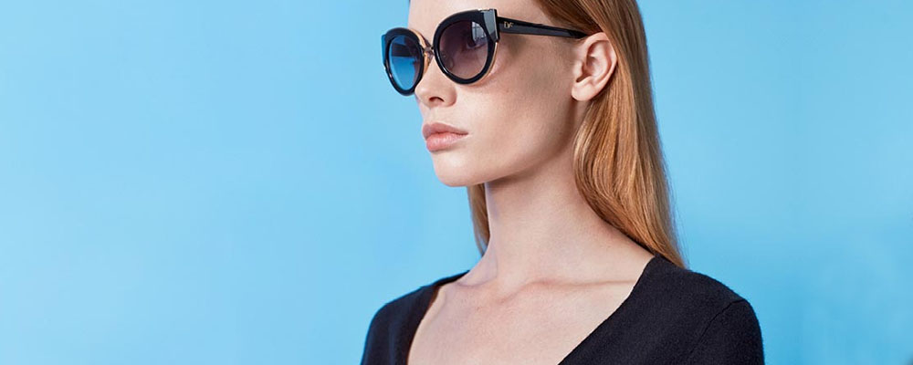 Woman wearing Diane Von Furstenberg glasses