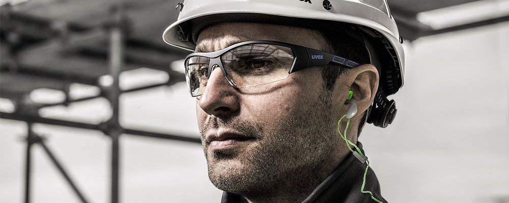 Man wearing Uvex safety glasses