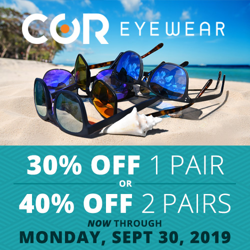 30 Percent Off one Pair and 40 Percent off two Pairs on all COR Sunglasses