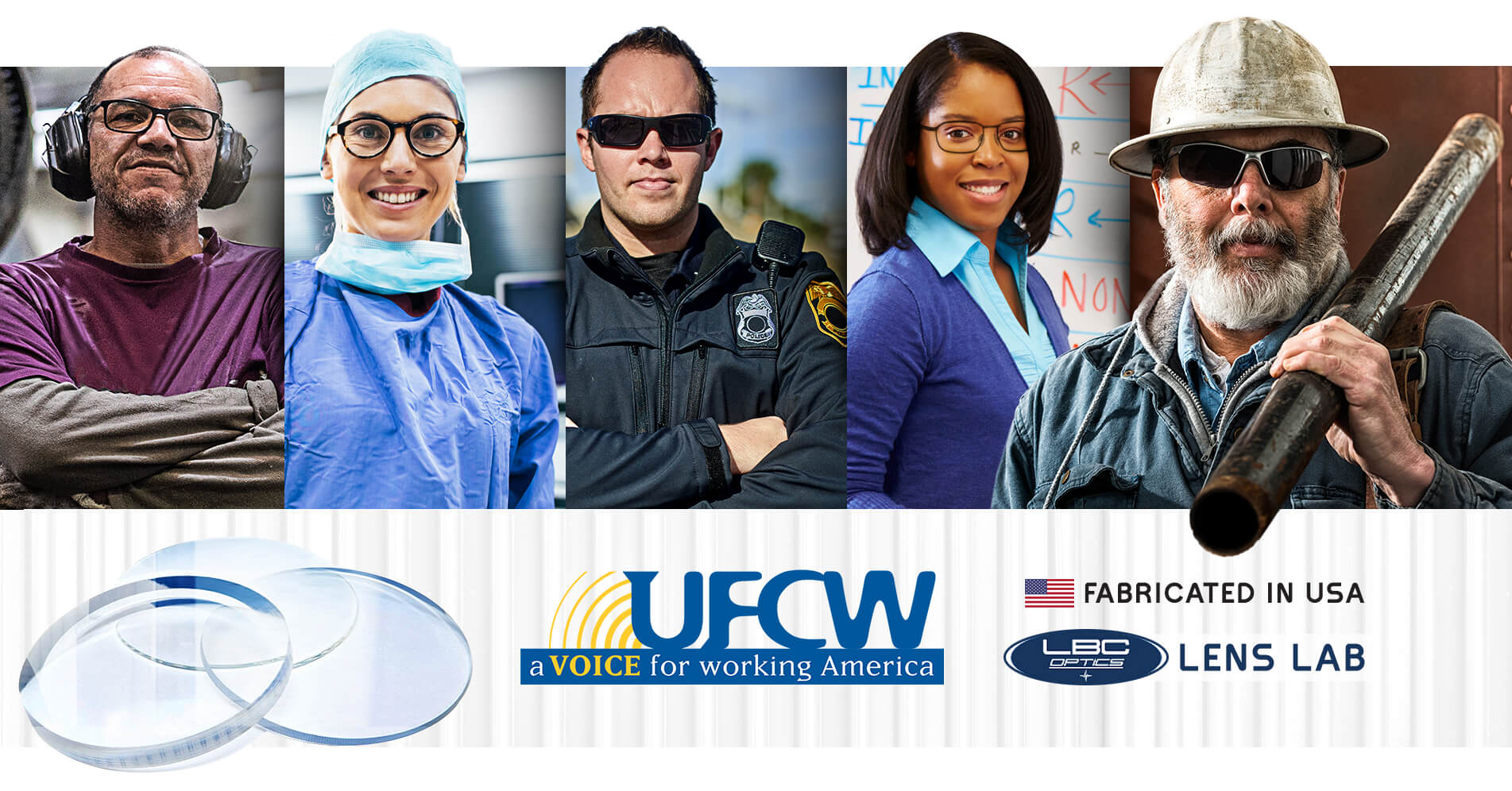 UFCW Made in America Lenses for Prescription Safety Glasses