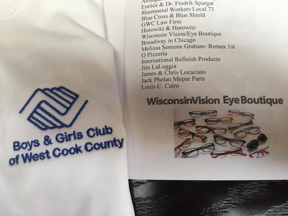 Close up of a napkin with Boys & Girls club printed on it