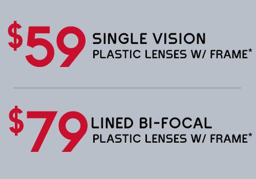 Special prices on plastic lenses with eyeglass frame